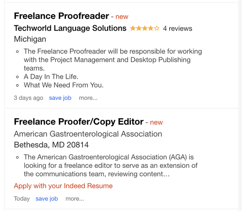 Freelance proofreader job listings