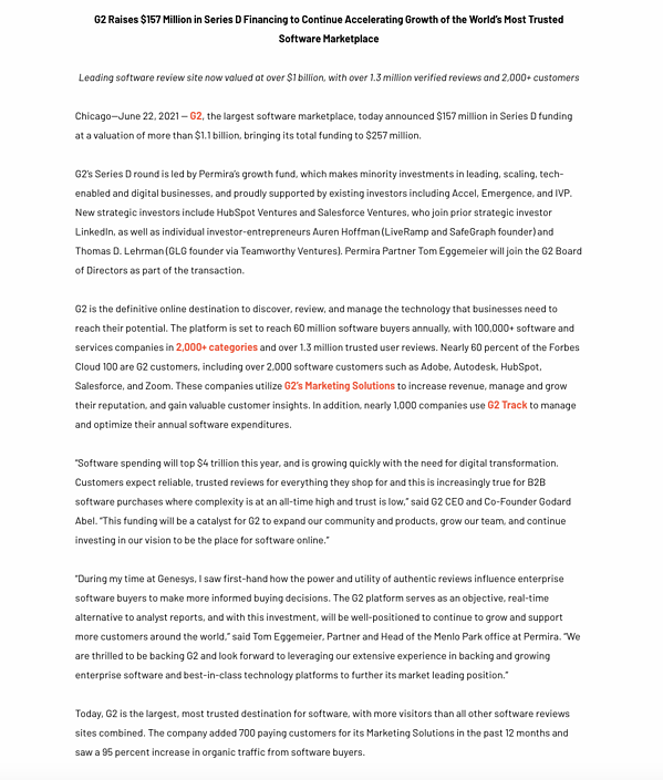 funding press release example