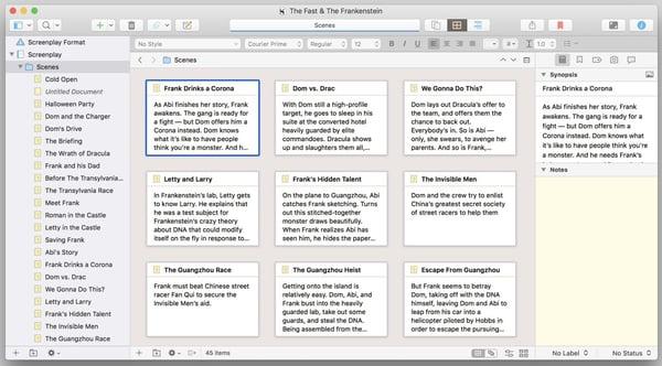 Scrivener, a type of free screenwriting software