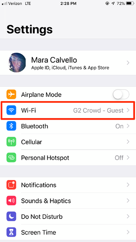 Select Wi-Fi on iPhone