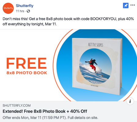 screenshot of an orange and blue Shutterfly ad that's promoting a free eight by eight photo book with the code BOOKFORYOU