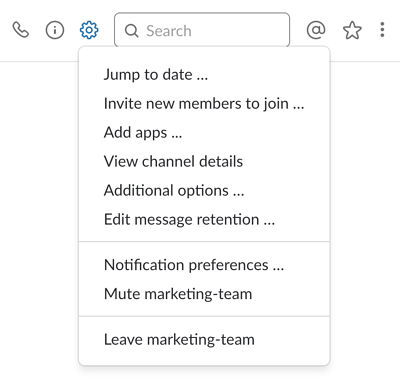 Slack-channel-options