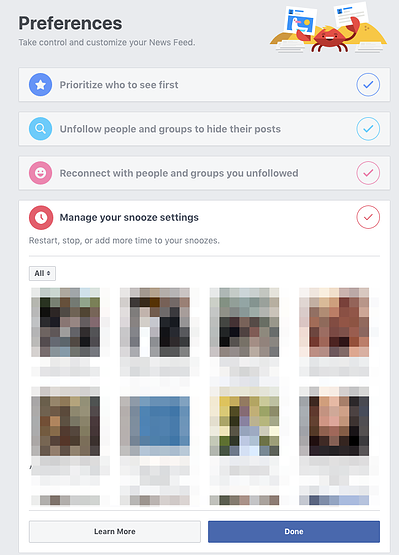 Snooze Settings on Facebook