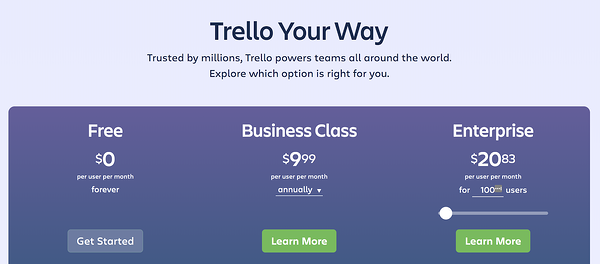 trello pricing freemium to enterprise