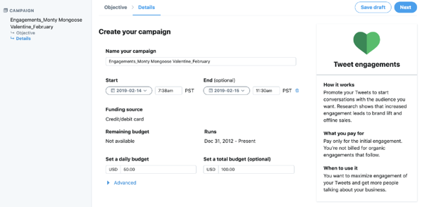 Step 2 choose Twitter ad objective campaign details