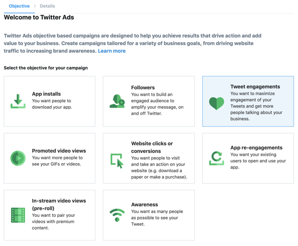 Twitter ad objectives
