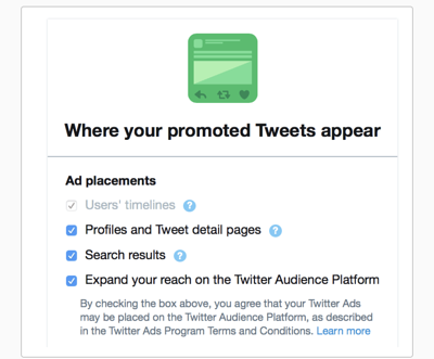 Step 6 Twitter ad placements