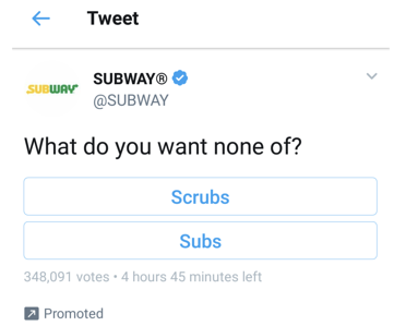 Subway funny tweet
