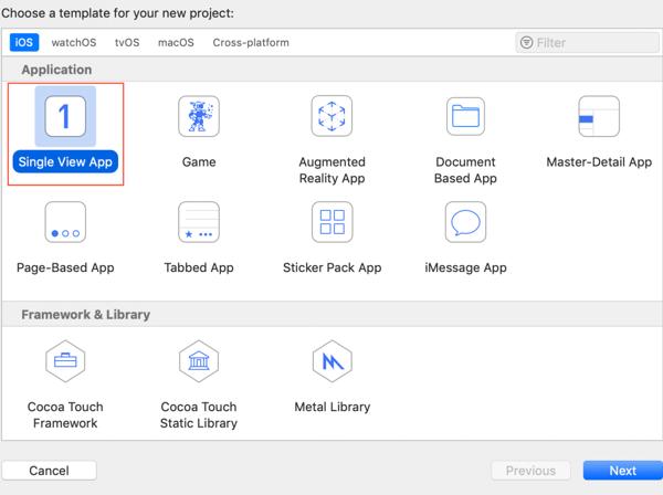Xcode single view app