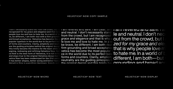 Three Types of Helvetica Now
