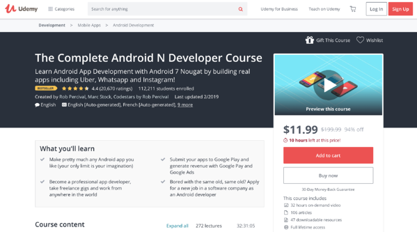 best Android app developer course