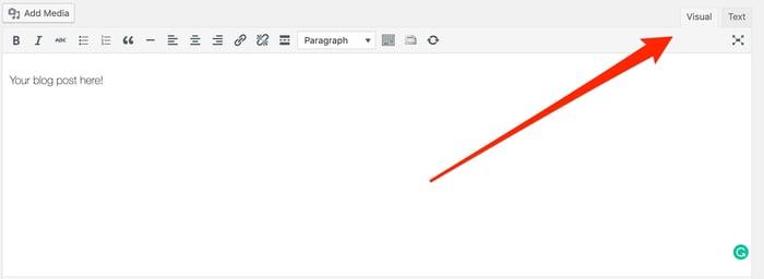 Visual and Text Views in WordPress Blog