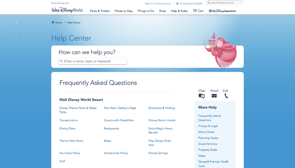 Walt Disney World FAQ page