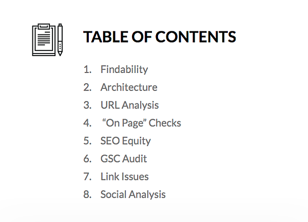 table of contents webris