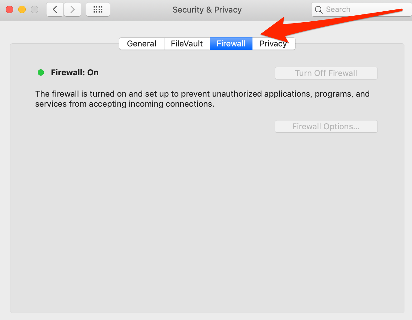 Firewall Settings on Mac