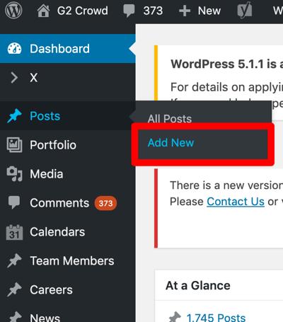 Add New WordPress Blog