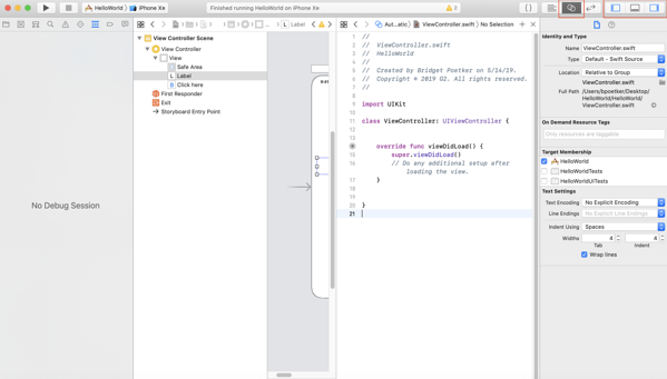 Assistant editor in Xcode