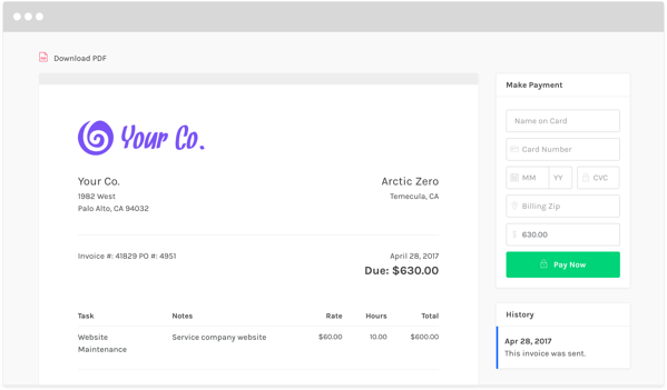 Zipbooks invoice template