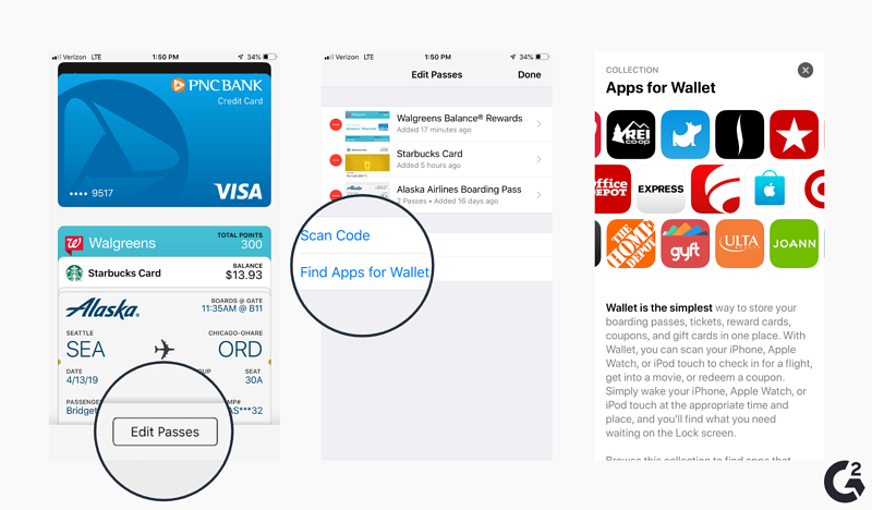 Screenshots of how to add a card within Apple Wallet