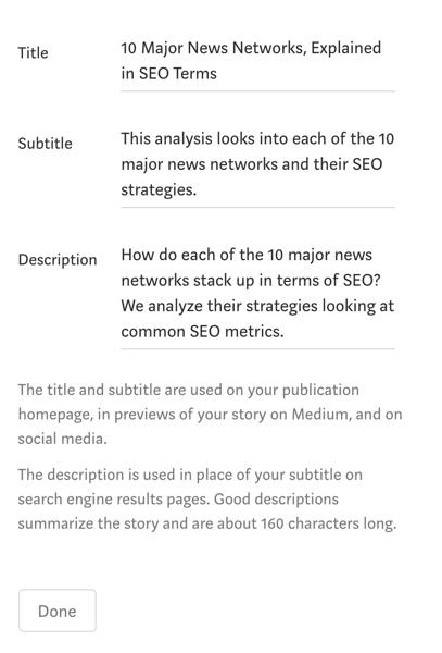 adding a meta description to your story on Medium