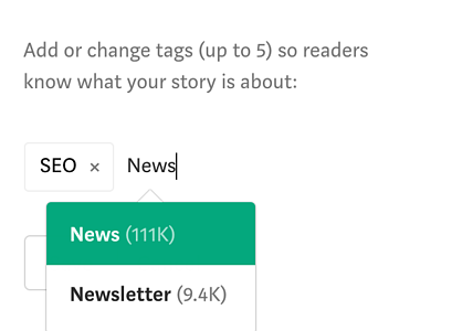 adding topic tags to your story on Medium