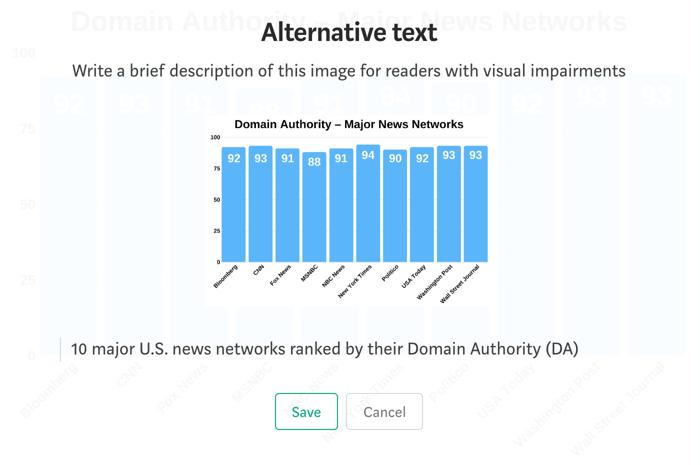 adding alt text to an image on Medium