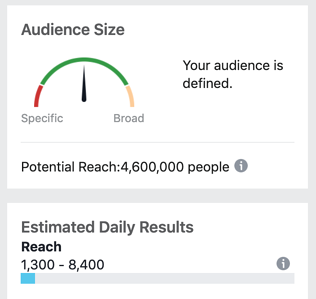 screenshot of the audience size indicator
