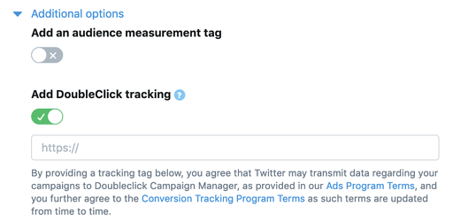 twitter ads manager options for doubleclick tracking