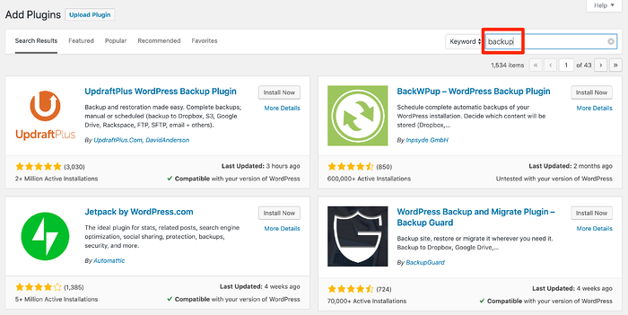 WordPress plugins to backup your site