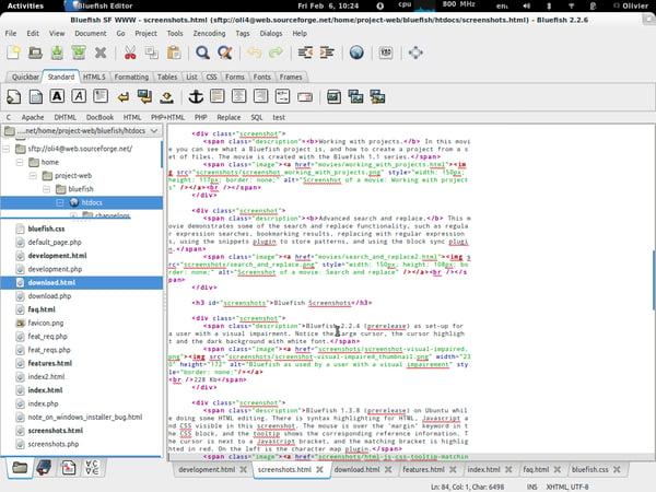 Bluefish free text editor