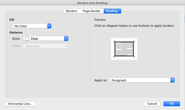borders and shading menu-shading screen