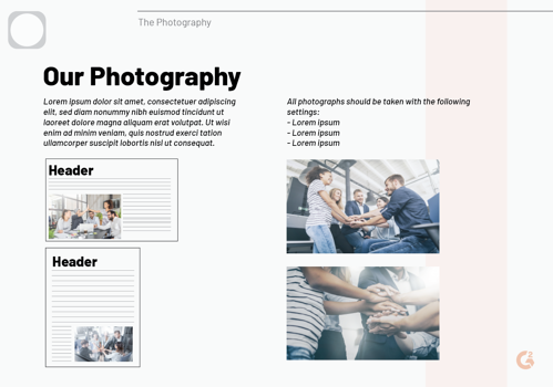 brand style guide photography