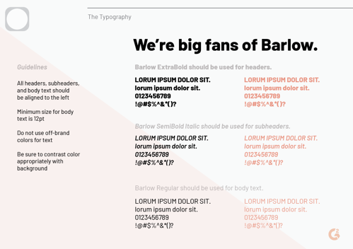 brand style guide typography