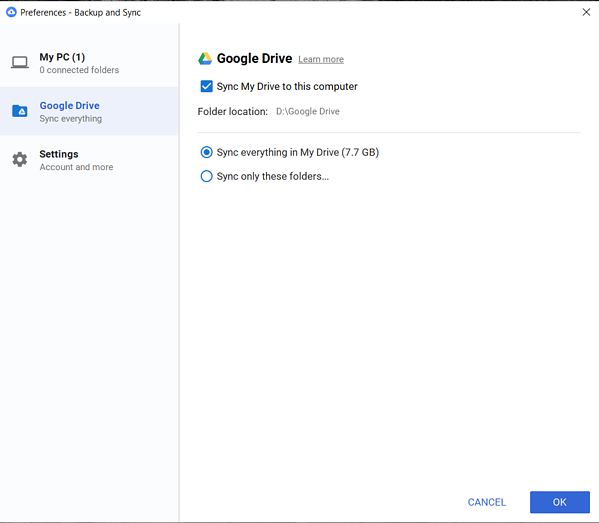 browsing and file search Google Drive