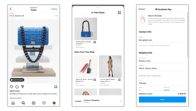 burberry multichannel retail instagram shopping feature