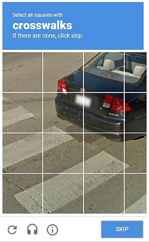 captcha for recognizing crosswalks