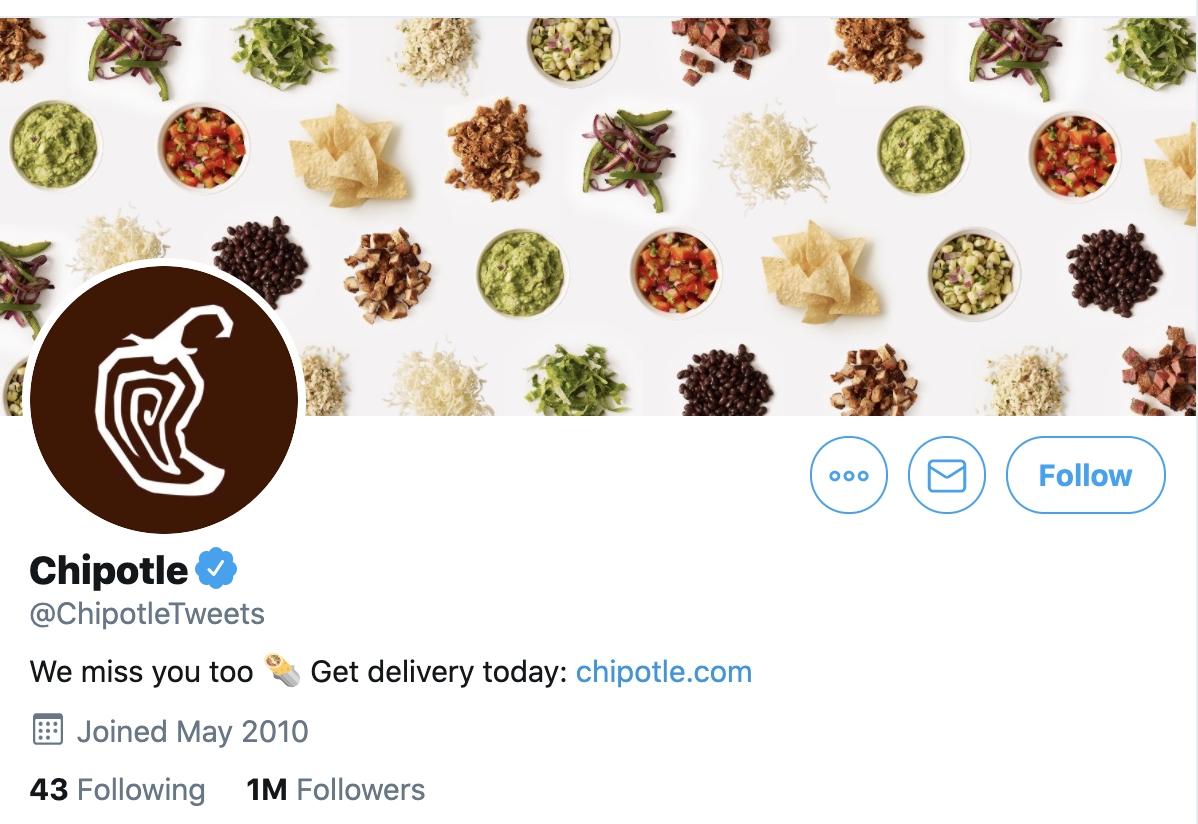 example of chipotle brand twitter account