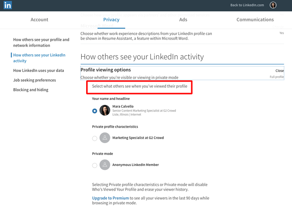 Choose LinkedIn Viewing Options