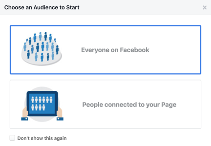 choosing an audience prompt in facebook audience insights