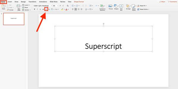 click on the superscript button