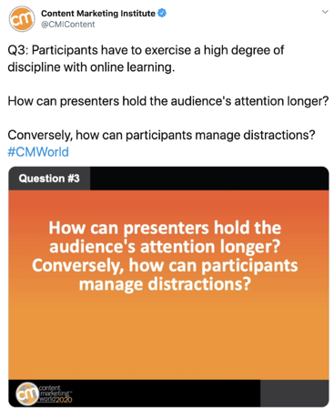 cmworld Twitter chat example