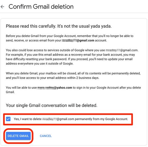 Confirmation of Deleted Gmail Account
