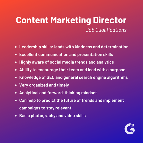 content marketing director job qualifications