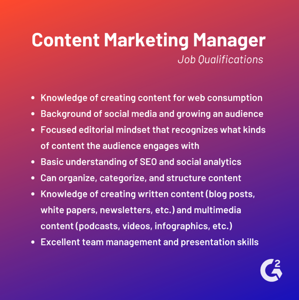 content marketing manager job qualifications