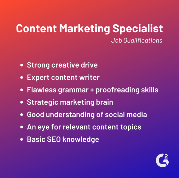 content marketing specialist job qualifications