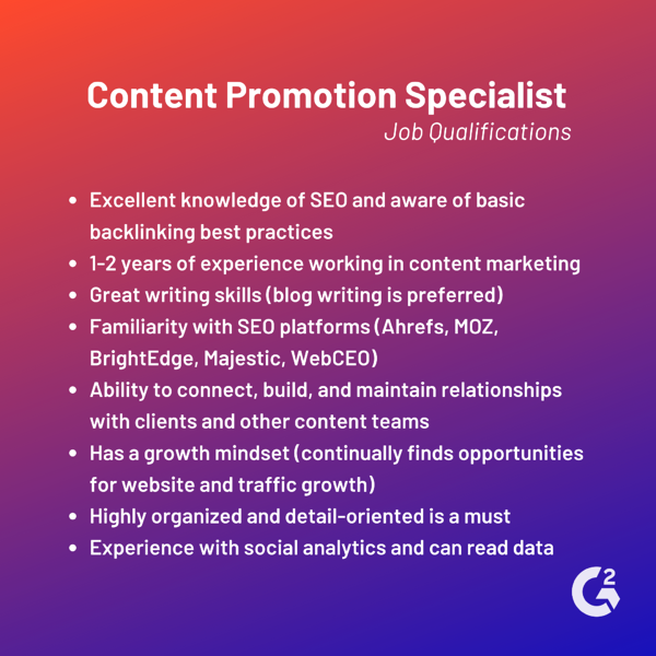 content promotion specialist job qualifications