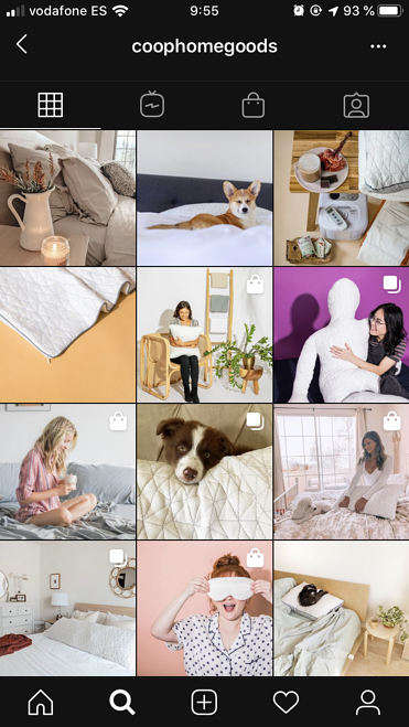 coop home goods instagram business profile example