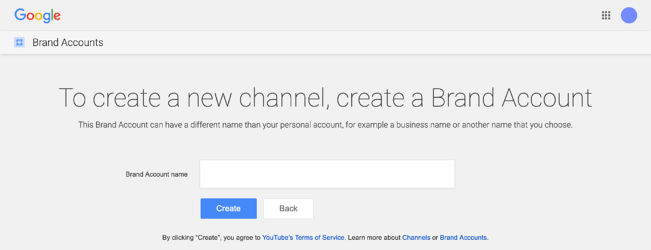 create a youtube brand channel