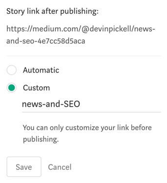 creating a custom story link on Medium