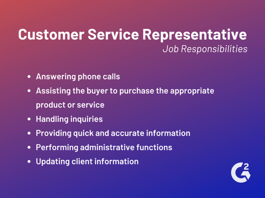 customer service representative responsibilities